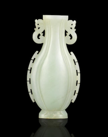 A small white jade vase Mid Qing dynasty