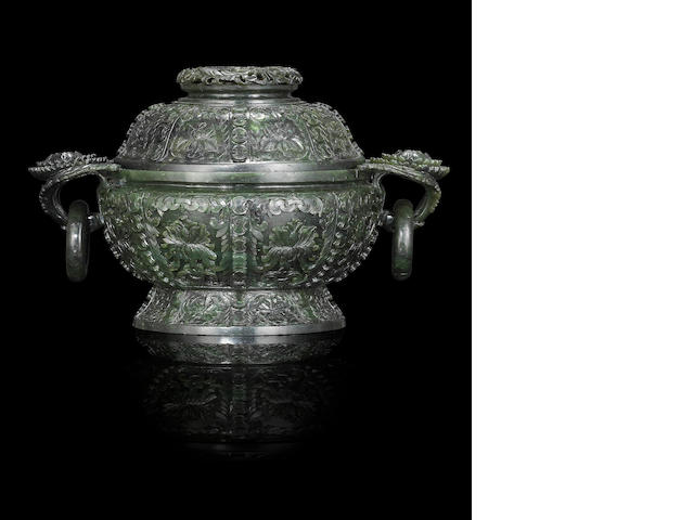 A spinach jade incense burner and cover Mid Qing dynasty