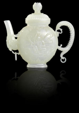 A Mughal-style white jade teapot and cover