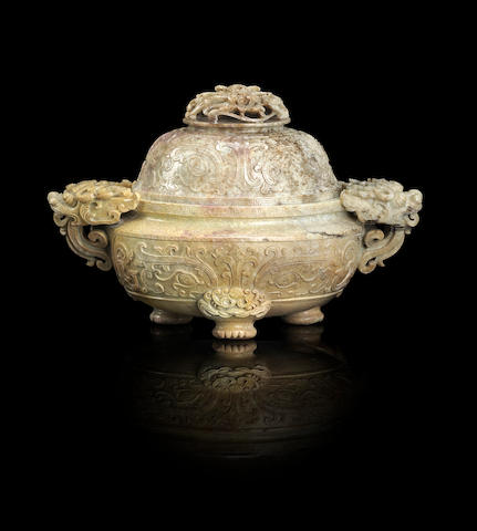 A 'chicken bone' jade tripod incense burner and cover Qianlong