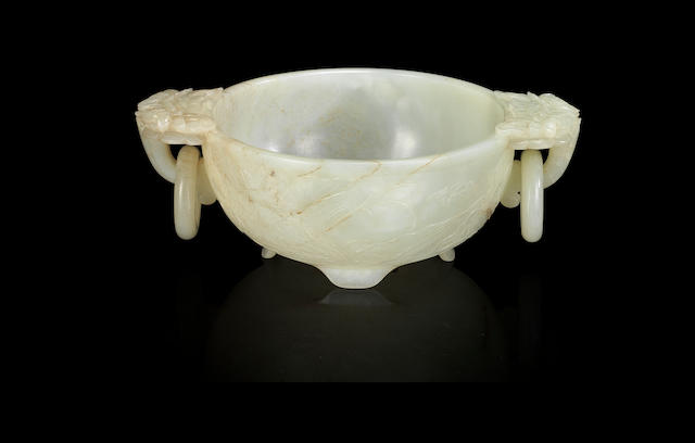A white and russet jade 'mandarin ducks' brushwasher Ming dynasty