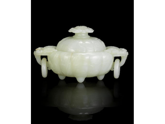 A white jade 'quails and landscape' incense burner and cover Qianlong
