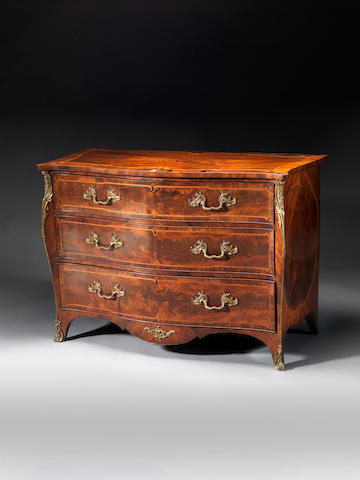 A George III sabicu, rosewood and gilt-brass mounted serpentine commode