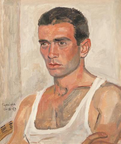 Yiannis Tsarouchis (Greek, 1910-1989) Portrait of a dancer 56 x 48 cm.