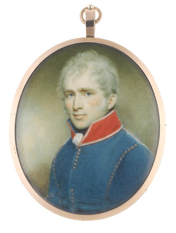 Circle of Samuel Shelley (British, 1750-1808) An Officer, called Thomas Worthington, wearing blue coat with red standing collar edged with silver, white frilled chemise and black stock, his hair cropped and powdered