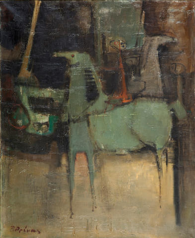 Paris Prekas (Greek, 1926-1999) Horses and rider 100 x 81 cm.