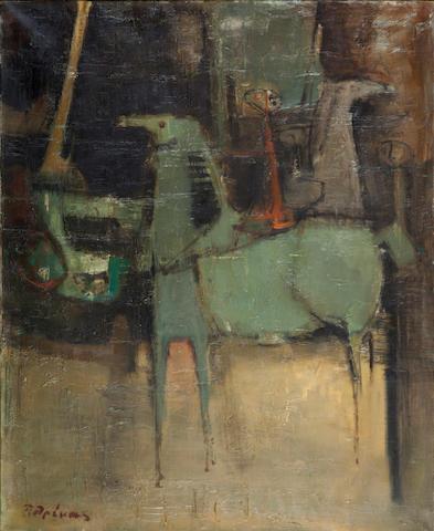 Paris Prekas (Greek, 1926-1999) Horses and rider  100 x 81 cm.