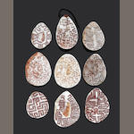 Eight Engraved Pearl Shells, Western Australia,  Riji, Jakoli