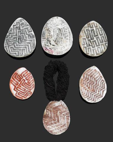 Six Engraved Pearl Shells, Riji, Jakoli, Western Australia