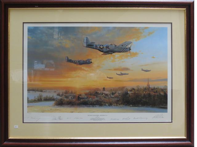 'Return to Duxford - Winter of '44', a signed limited edition print after Robert Taylor,