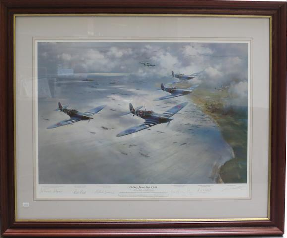 'D-Day June 6th 1944', a signed limited edition print after Frank Wootton,