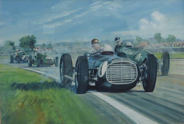 Rodney Diggens (1937-), 'Fangio vs Hawthorn - Goodwood Trophy 1953',