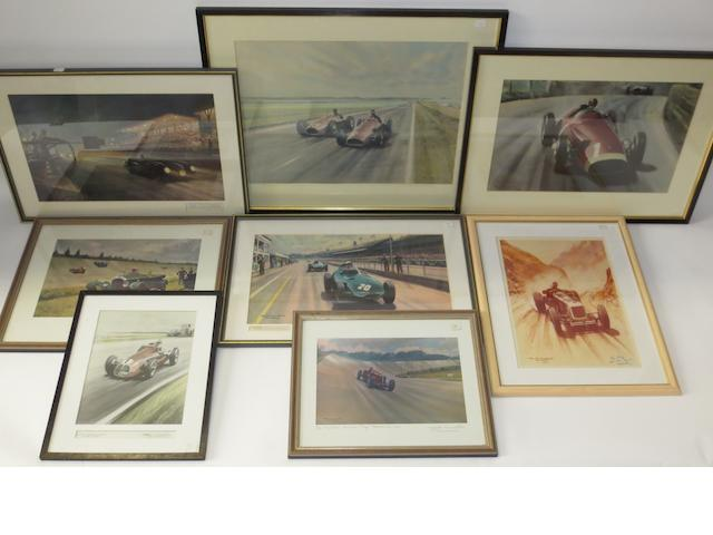 Eight colour motoring prints after Roy Nockolds,