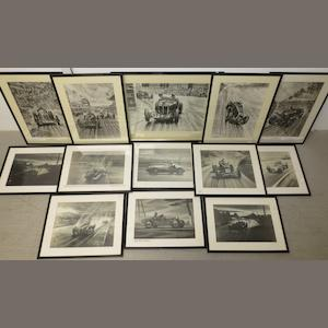Thirteen framed motoring prints after Roy Nockolds,