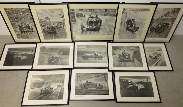 Thirteen framed motoring prints after Roy Nockolds,