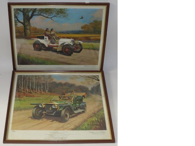 Two signed limited edition motoring prints after Roy Nockolds,