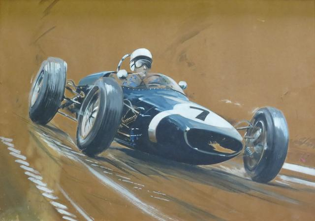Dion Pears (1929-1985), 'Stirling Moss - Lotus 18/21 German Prix 1961',