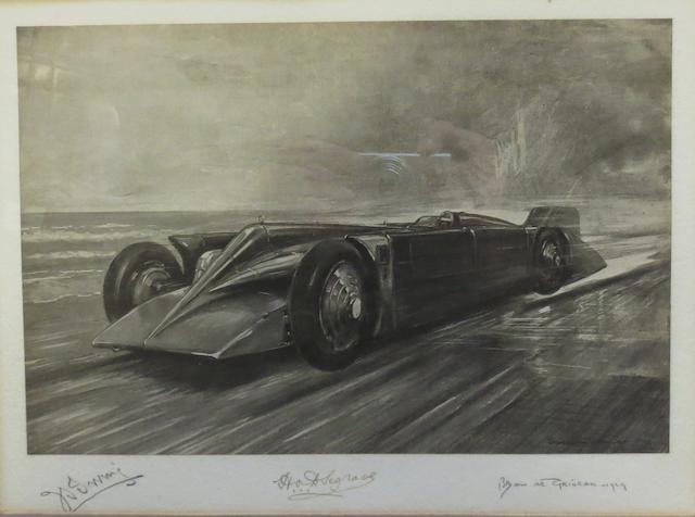 'Sir Major Henry Segrave's Golden Arrow', a signed print after Bryan de Grineau,