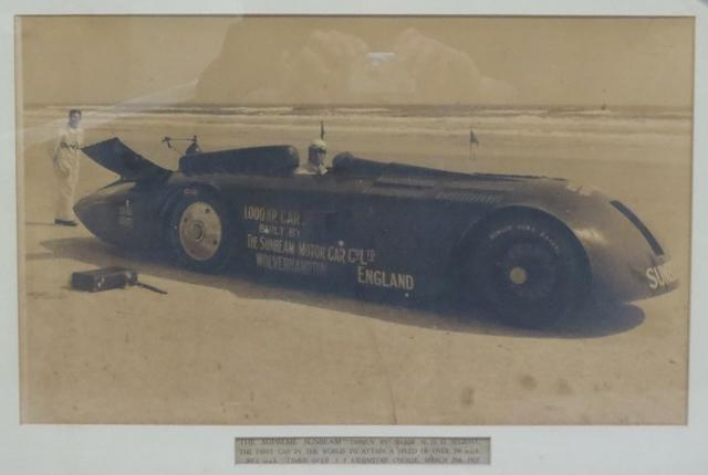 A photograph of Sir Major Henry Segrave in the Land Speed Record Sunbeam 1000,