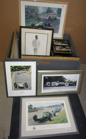 A collection of Jim Clark prints and display mounted images,