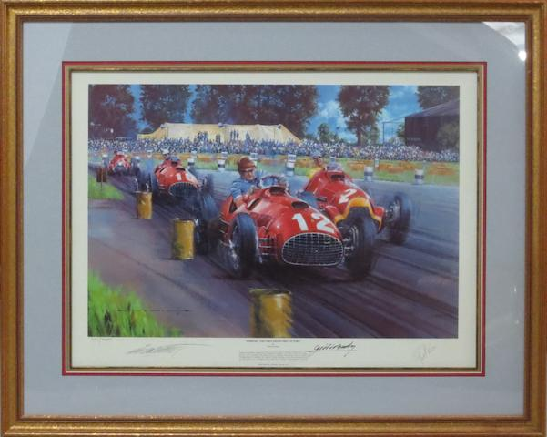 'Ferrari - The First Grand Prix Victory', a signed limited edition print after Nicholas Watts,