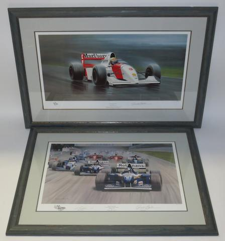 Two signed limited edition Formula 1 prints after Gerald Coulson,