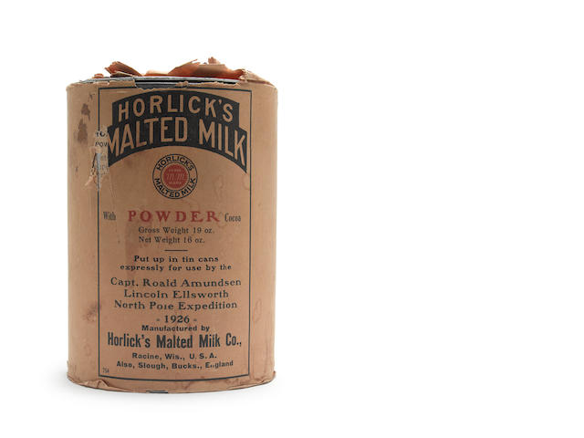 AMUNDSEN (ROALD) - SUPPLIES A container of Horlick's malted milk, in original printed paper wrapper, packed for the Amundsen Ellsworth North Pole Expedition