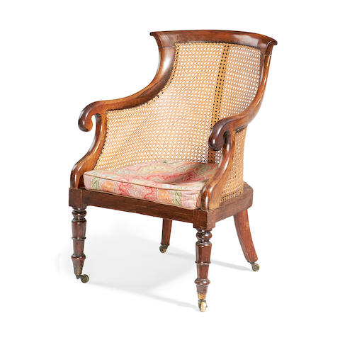 A Regency rosewood caned library bergere