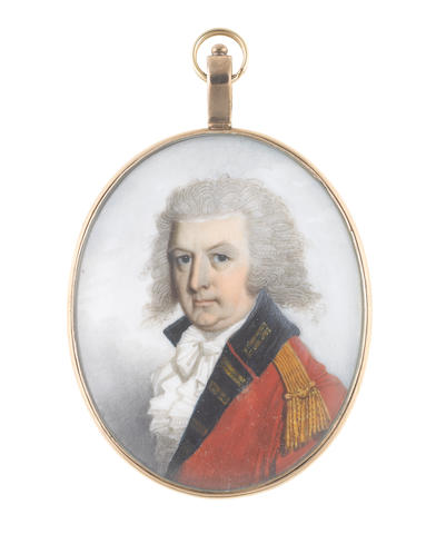 John Barry (British, active 1784-1827) An Officer of the Princess of Wales's Royal Regiment (Queen's and Royal Hampshires), wearing red coat with dark blue and gold facings, gold epaulette, white frilled chemise, stock and tied cravat, his hair powdered