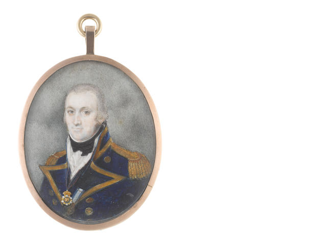 Hinton Gibbs (British, active circa 1790-circa 1822) Admiral Sir Benjamin Hallowell-Carew GCB (1761-1834), wearing dark blue coat with facings and standing collar edged with gold, gold epaulettes, the Royal Order of St Ferdinand and Merit suspended from a blue sash hanging from his neck and the Long Service and Good Conduct naval medal fastened to his left facing, black waistcoat and stock, white chemise and frilled cravat, his hair powdered