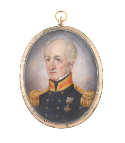 Attributed to William Miers (British, 1793-1863) General Sir Robert Abercromby GCB (1740-1827), wearing dark blue coat with gold and scarlet facings, gold epaulettes, Imperial Order of the Crescent, white chemise and black stock
