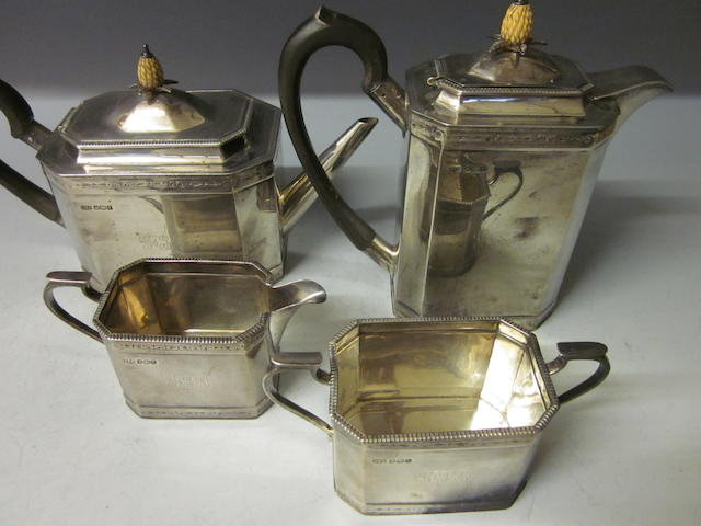 A George V four-piece silver tea service, by Roberts and Belk, Sheffield 1928,  (4)
