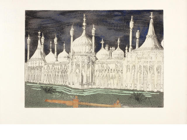 John Piper C.H. (British, 1903-1992) Brighton Aquatints The rare set of twelve aquatints hand-coloured by the artist, 1939, on handmade F.J.Head watermarked paper, signed and numbered 39/55 in pen on the title page, together with text and page dividers in blue paper, hand printed by A.Alexander and Sons, the text published by Curwen Press, published by Duckworth, in the original binding, 212 x 290mm (8 1/3 x 11 1/2in)(PL and smaller), 257 x 397mm (10 x 15 1/2in)(Vol)