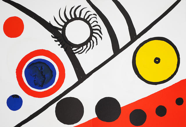 Alexander Calder (American, 1898-1976) Derrière le Miroir- Nos 141, 156, 173, 201 & 221 Five portfolios, 1963-1976, on various wove papers, containing 30 lithographs and lithographic reproductions, text and justification pages, four volumes signed in pencil on the justification, each variously numbered from the deluxe edition of 150, published by Maeght Editeur, Paris, loose as issued in original boards and slipcase, each 380 x 280mm (15 x 11in) 5 vol