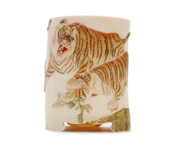 A Japanese ivory tusk vase Meiji Period