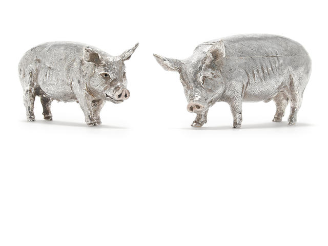 Two modern silver novelty 'pig' condiments by N B & S within a trefoil punch, London 1990,  (2)