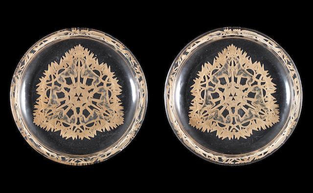 René Lalique  'Chasse, Chiens' a Pair of Plates, design 1914