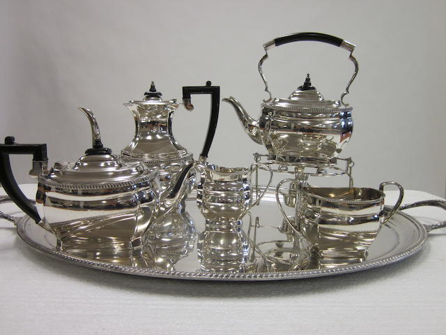 An electroplated six-piece tea and coffee service by Garrard and Co.,  (6)