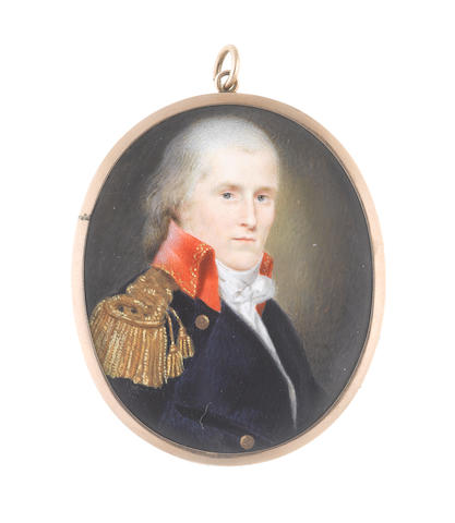 Charles Willson Peale (American, 1741-1827) A Naval Officer, wearing navy blue coat with brass buttons bearing anchors and red standing collar edged with gold embroidery, gold epaulette, white chemise, stock and knotted cravat, his hair lightly powdered