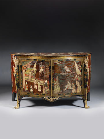 A George III Coromandel Lacquer, gilt-brass mounted serpentine commode, attributed to Pierre Langlois, the mounts possibly supplied by Dominique Jean