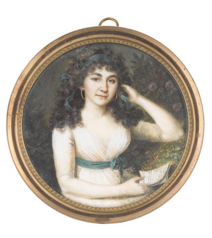 Anton Graff (Swiss, 1736-1813) A Lady, seated in a garden, wearing white dress, dark green sash with silver tassels and tied in a ribbon bow at her side, gold hooped earrings, her dark curled hair dressed with a matching dark green bandeau, she holds a letter in her right hand