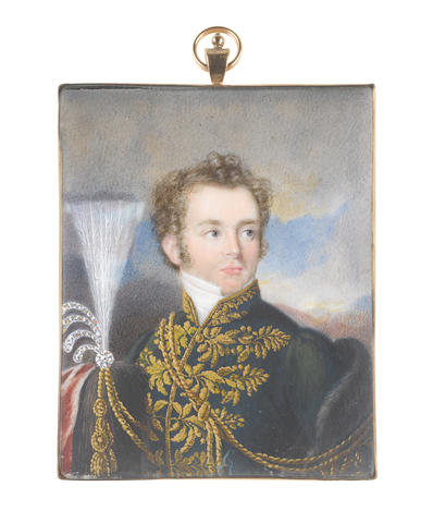 Attributed to Emanuel Thomas Peter (Austrian, 1799-1873) An Officer, wearing dark green coat with gold embroidery, lace and braids, white chemise and stock, fur trimmed cape draped over his right shoulder, his helmet of horse hair, gold braiding and white plumes sits in his right arm