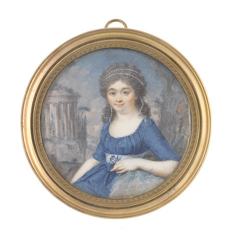Augustin Dubourg (French, 1758-1800) A Lady, seated within a landscape,  wearing blue dress and dove grey sash, her lightly powdered hair partially upswept and dressed with a double strand of pearls, she holds a violet in her left hand and rests her right arm upon a grassy stone