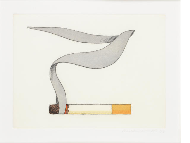 Tom Wesselmann (American, 1931-2004) Smoking Cigarettes #2 Etching with aquatint printed in colours, 1991, on wove, signed and inscribed 'HC 8/8' in pencil, a proof aside from the edition of 65, printed by Branstead Studio, New York, with their blindstamp, 150 x 200mm (5 7/8 x 7 7/8in)(PL)