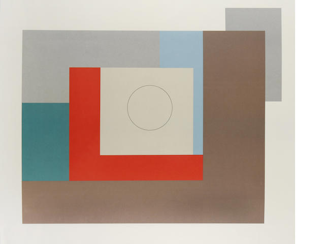 Ben Nicholson O.M. (British, 1894-1982) Abstract Composition 1935 Offset lithograph in colours, 1973, on TH Saunders, signed on verso, dated and numbered /90 in pencil, printed by Curwen Studio, Chilford, published by Penwith Galleries Ltd, St Ives, 666 x 800mm (26 1/4 x 31 1/2in)(SH)