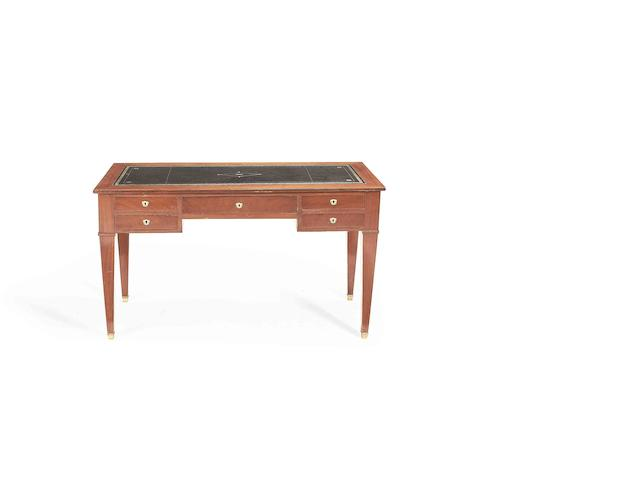 A French late 19th/early 20th century mahogany kneehole writing desk in the Empire revival style