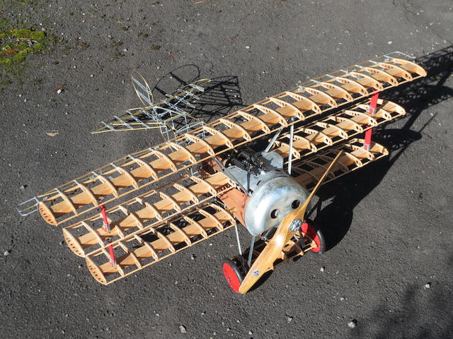 A scale skeletal model of a Fokker DR1 tri-plane,