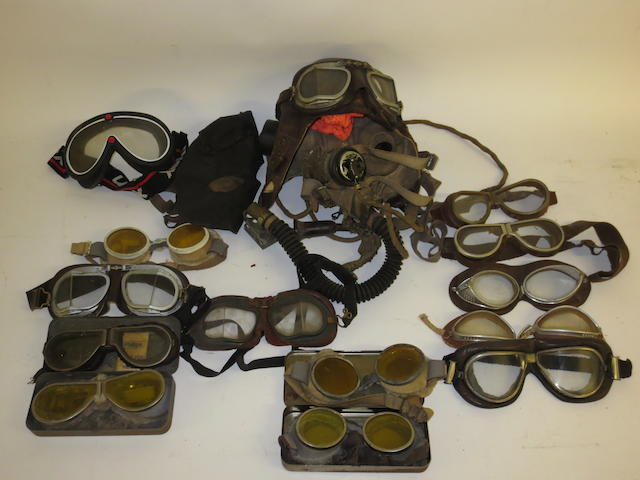 Assorted motoring goggles,