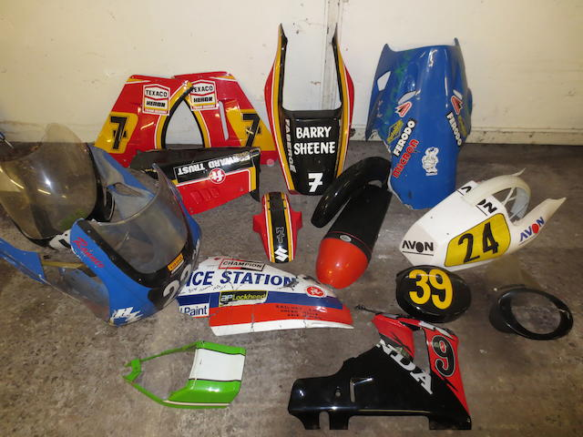 Assorted motorcycle race fairings,