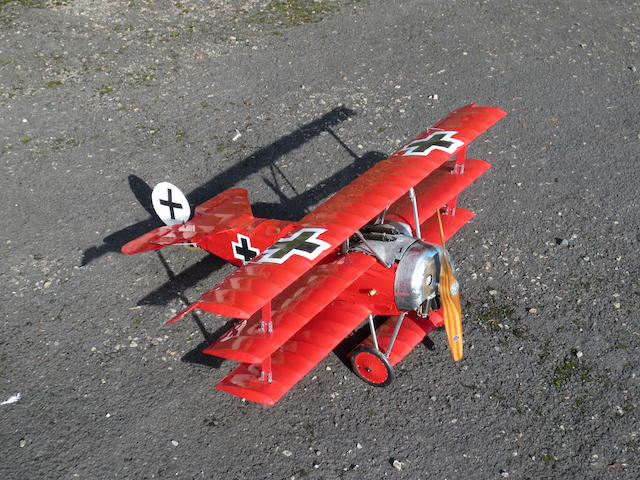 A scale model of a Fokker DR1 tri-plane,